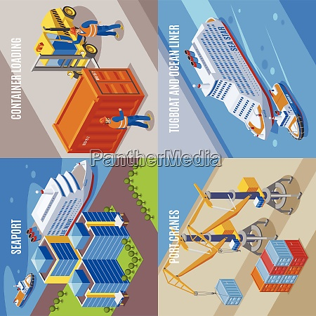 four seaport isometric icon set with