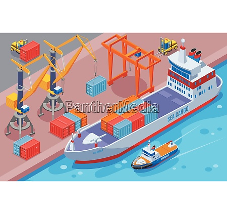 seaport isometric and colored composition with