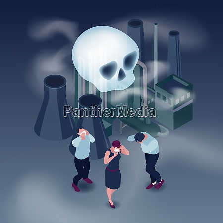 pollution in city isometric concept with
