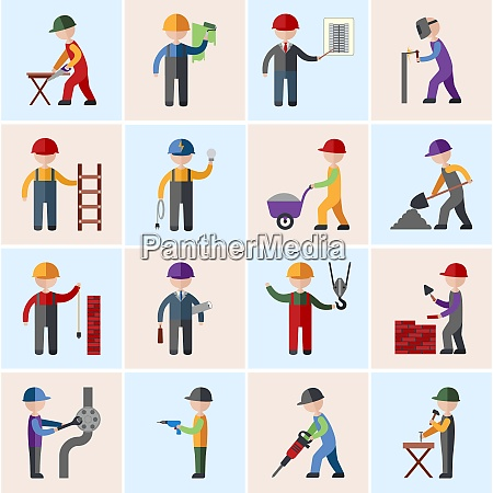 construction worker people silhouettes icons flat