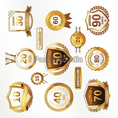 anniversary celebration golden labels and badges