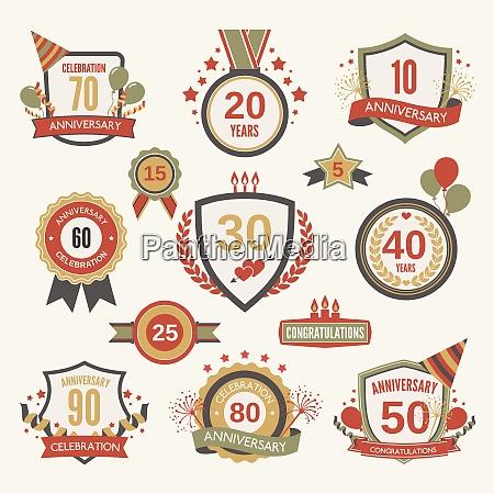 anniversary celebration retro label set with