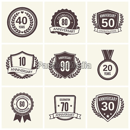 anniversary celebration black label icons set