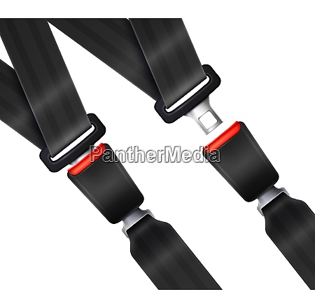 set of realistic transportation seat belts