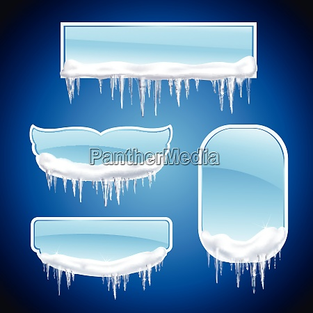 isolated icicles frames realistic icon set