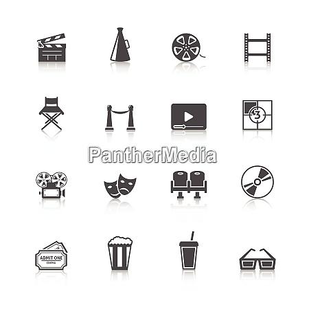 cinema black retro icons set with
