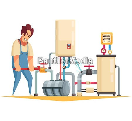 boiler repair plumber service flat cartoon