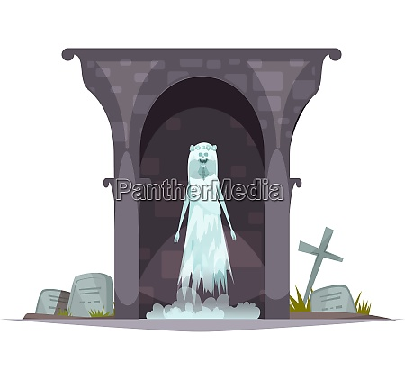 evil graveyard specter cartoon character composition