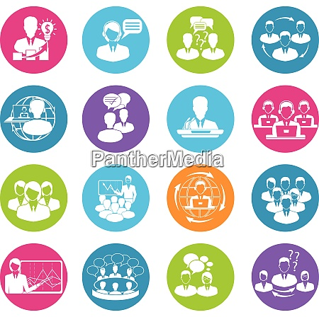 business meeting white round buttons icons