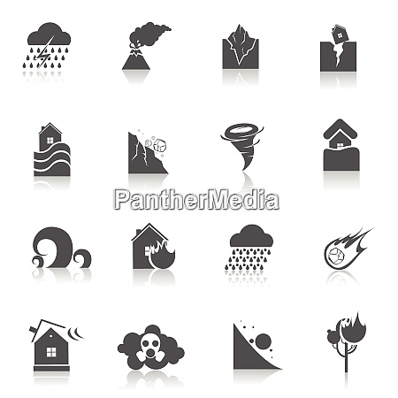 natural disaster environmental catastrophe icons black