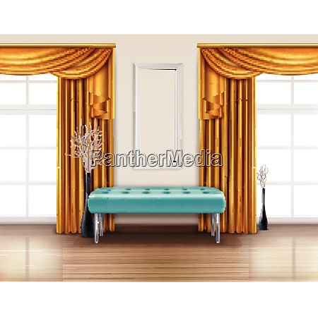 colored luxury curtains realistic interior with