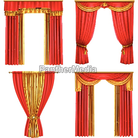 four different luxury curtains realistic icon