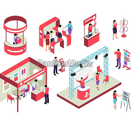 trade exhibition isometric set with staff