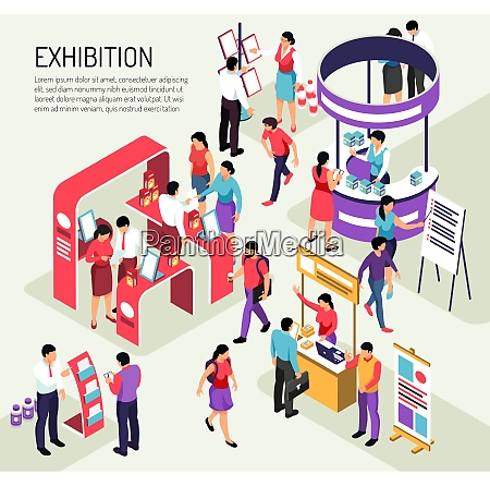 isometric expo exhibition composition background with