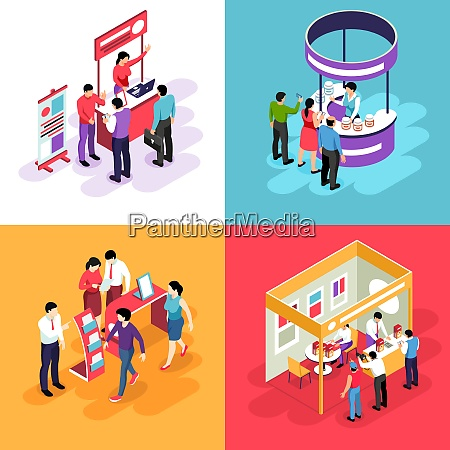 isometric expo design concept with images