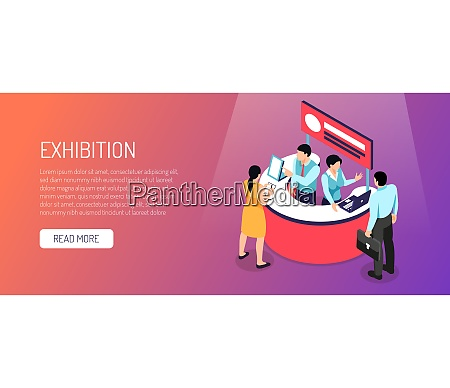 isometric expo horizontal banner with read