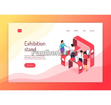 isometric expo concept banner website page