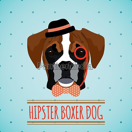 hipster boxer dog with hat monocle
