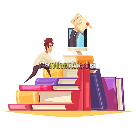 online courses cartoon composition with graduate