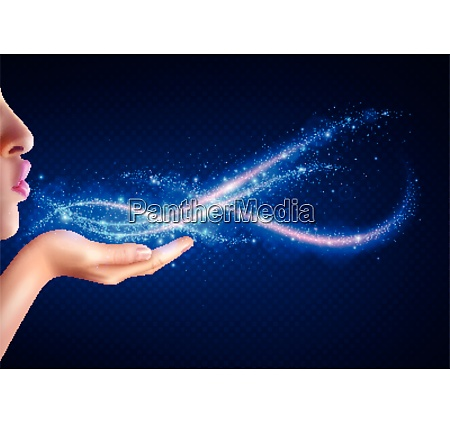 magic fantasy background with woman blowing