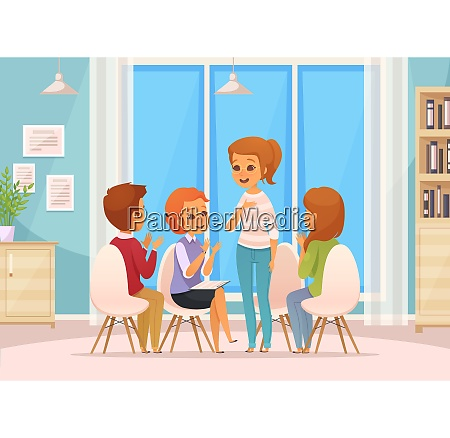 colored cartoon group therapy composition with
