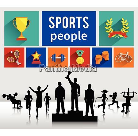 sportsmen sportswomen successful winning people concept