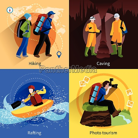 tourism icons set with hiking caving