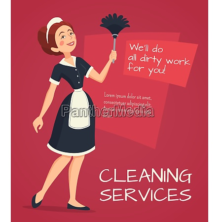 cleaning service advertisement with cleaning woman