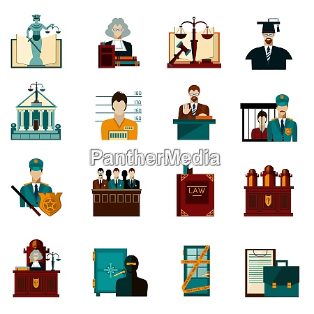law crime and punishment flat icons