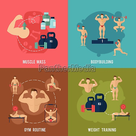 bodybuilding flat icons set with muscle