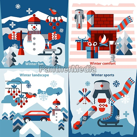 winter flat icons set with sports