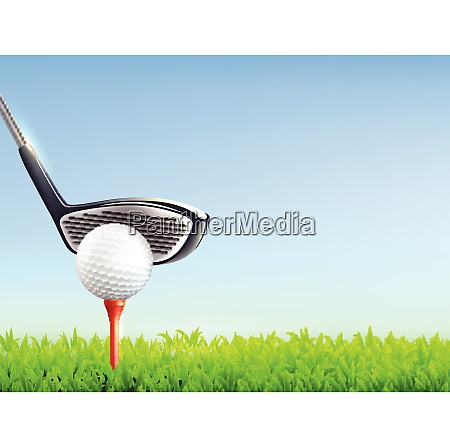 golf realistic background with ball club