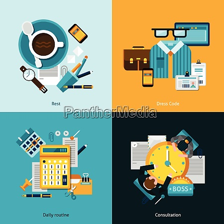 office design concept set with daily