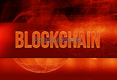 graphical blockchain red theme background with