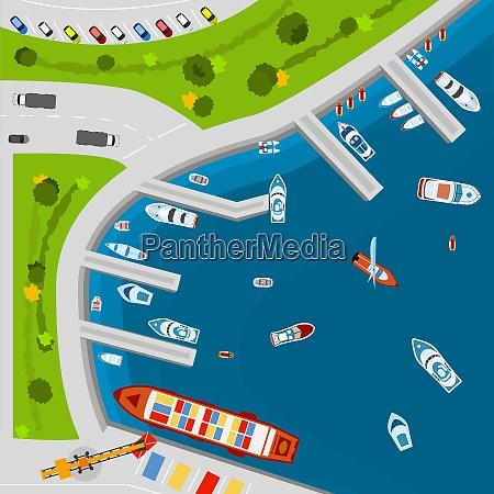 seaside dockyard harbor terminal area with