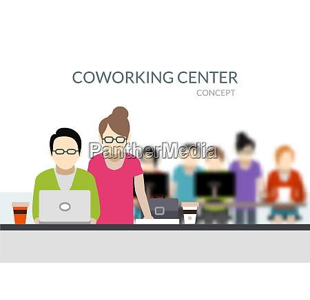coworking center composition with young people