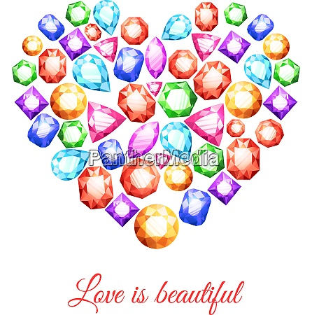 colorful gemstones in heart shape with