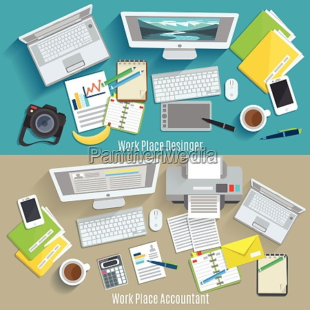 designer and accountant work place horizontal