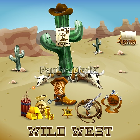 wild west realistic background with cactus