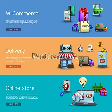 online shopping horizontal realistic banners set