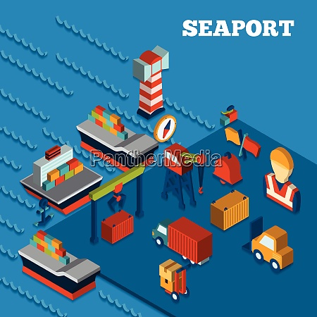 seaport freight transportation concept with isometric