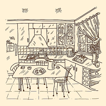kitchen interior sketch with indoors home