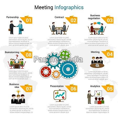 meeting infographics set with partnership contract