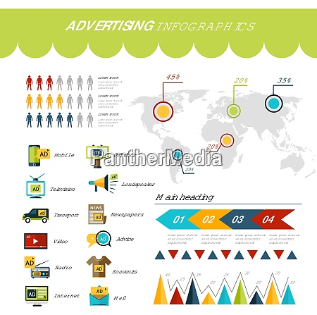 advertising infographics set with marketing strategy