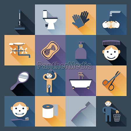 hygiene icons flat set with body