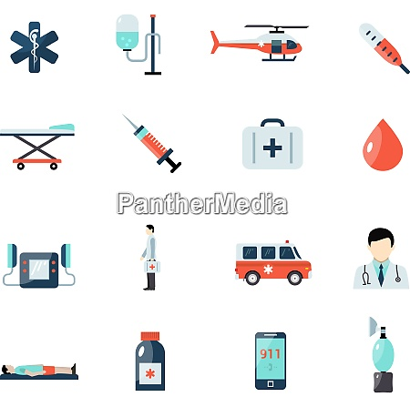 emergency paramedic icons set with first