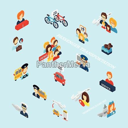 passenger transportation isometric icons set with