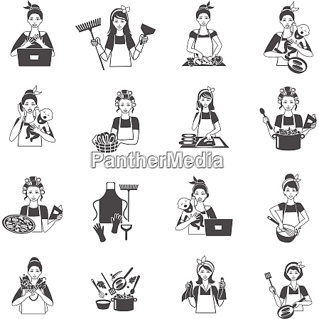 housewife woman domestic life black icons