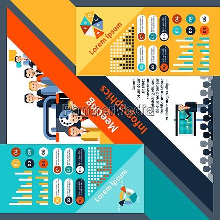 meeting infographics set with business teamwork