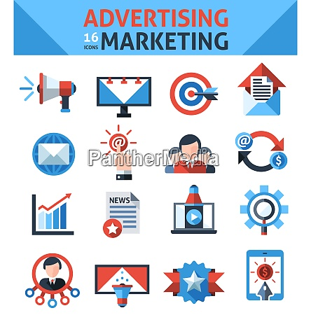 advertising marketing icons set with announcement